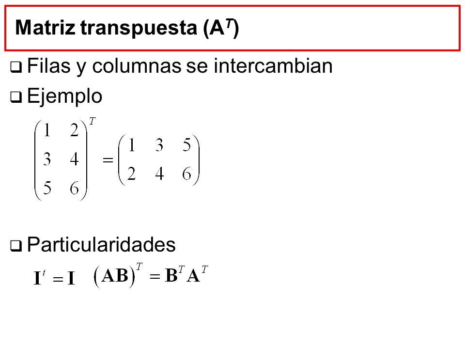 Matriz transpuesta (A T ) Filas y columnas se intercambian Ejemplo Particularidades