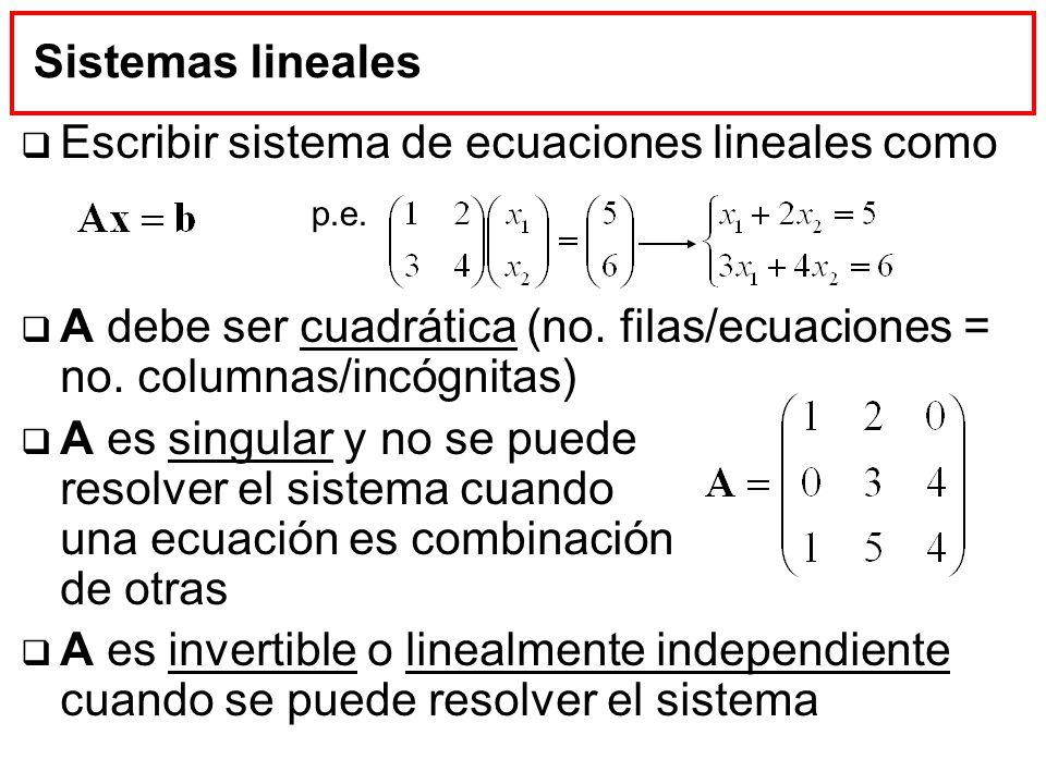 Sistemas lineales Escribir sistema de ecuaciones lineales como A debe ser cuadrática (no. filas/ecuaciones = no. columnas/incógnitas) A es singular y