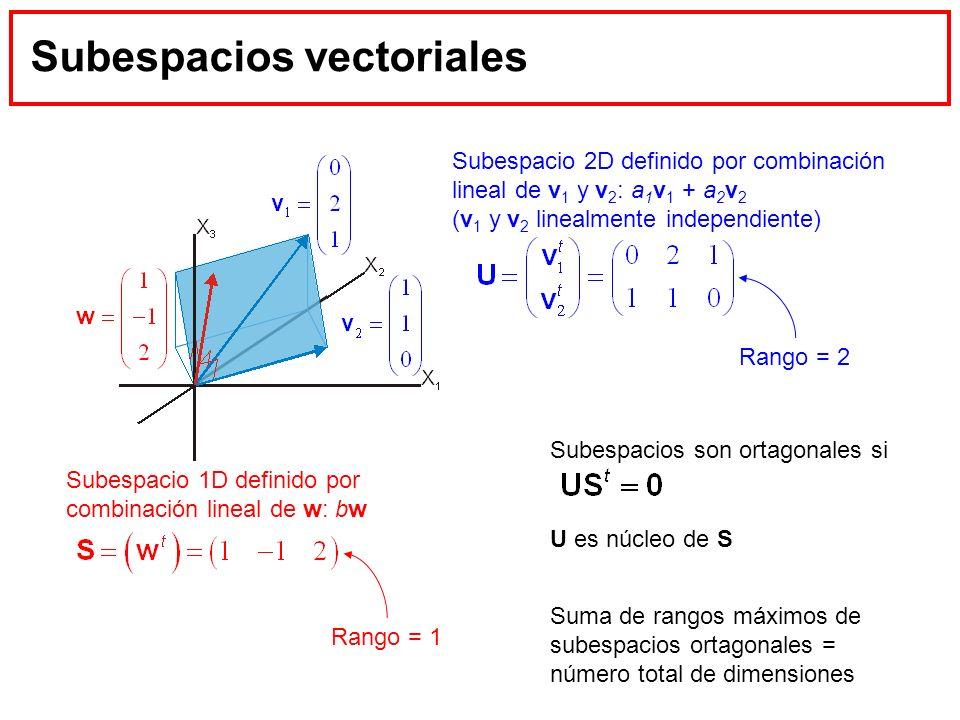 Subespacios vectoriales Subespacio 2D definido por combinación lineal de v 1 y v 2 : a 1 v 1 + a 2 v 2 (v 1 y v 2 linealmente independiente) Subespaci