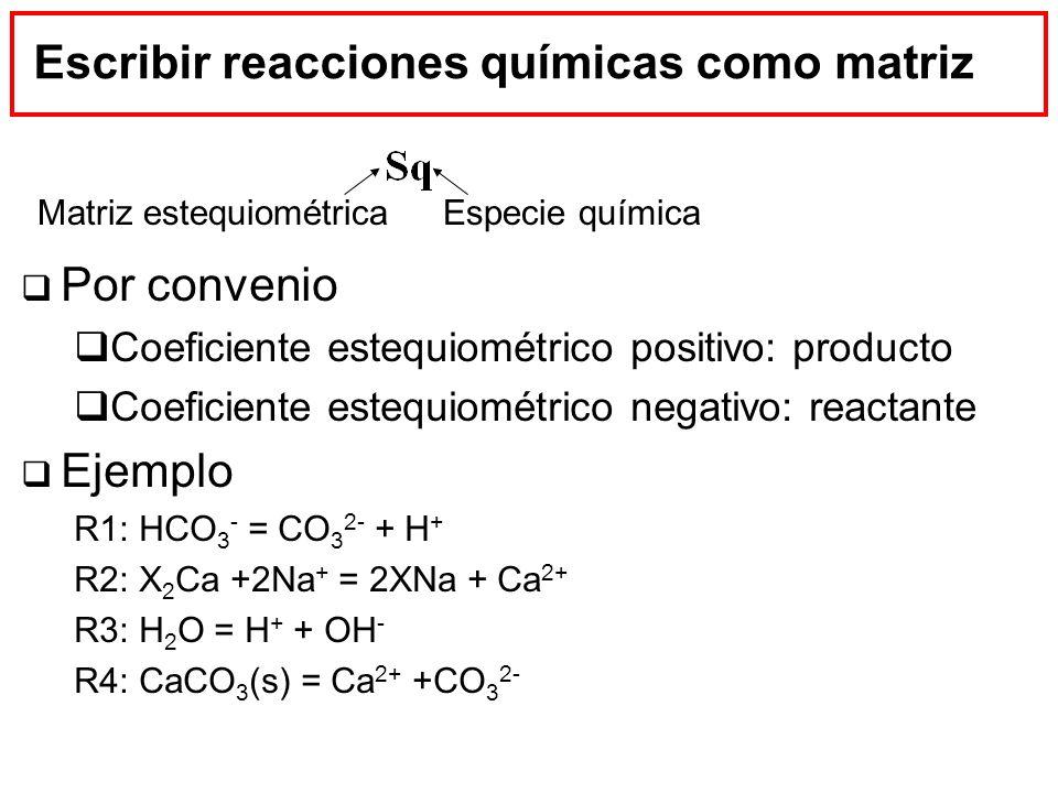 Escribir reacciones químicas como matriz Por convenio Coeficiente estequiométrico positivo: producto Coeficiente estequiométrico negativo: reactante E