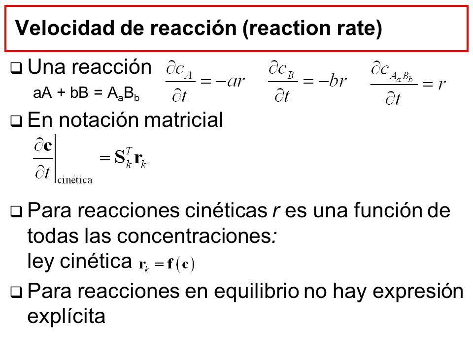 Velocidad de reacción (reaction rate) Una reacción aA + bB = A a B b En notación matricial Para reacciones cinéticas r es una función de todas las con