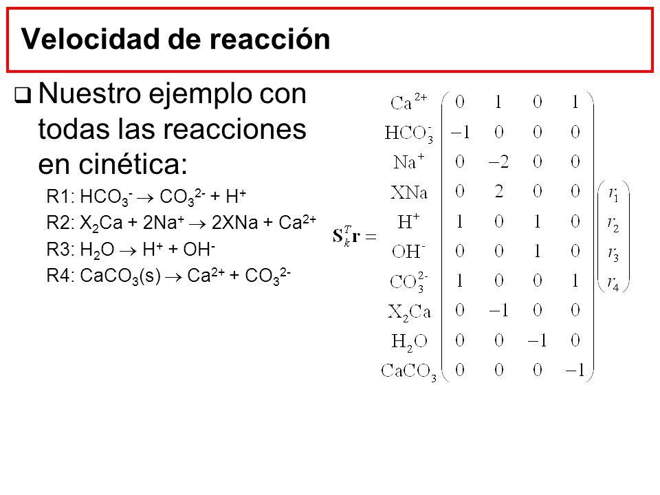 Velocidad de reacción Nuestro ejemplo con todas las reacciones en cinética: R1: HCO 3 - CO 3 2- + H + R2: X 2 Ca + 2Na + 2XNa + Ca 2+ R3: H 2 O H + +