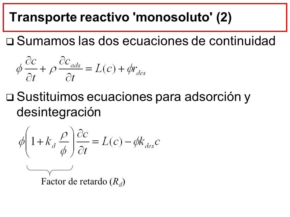 Transporte reactivo 'monosoluto' (2) Sumamos las dos ecuaciones de continuidad Sustituimos ecuaciones para adsorción y desintegración Factor de retard