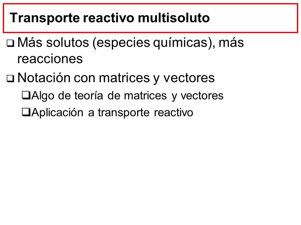 Transporte reactivo multisoluto Más solutos (especies químicas), más reacciones Notación con matrices y vectores Algo de teoría de matrices y vectores