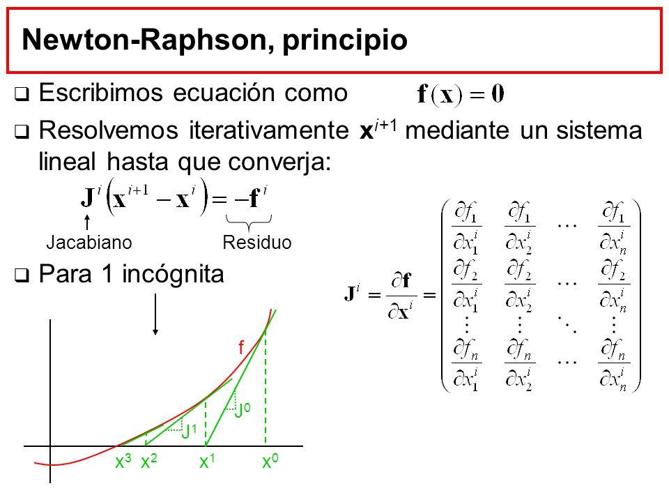 Newton-Raphson, principio Escribimos ecuación como Resolvemos iterativamente x i+1 mediante un sistema lineal hasta que converja: Para 1 incógnita f x