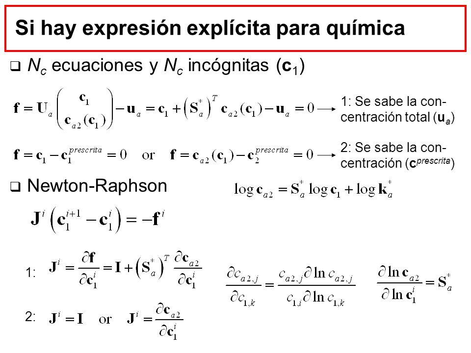 Si hay expresión explícita para química N c ecuaciones y N c incógnitas (c 1 ) Newton-Raphson 1: Se sabe la con- centración total (u a ) 2: Se sabe la