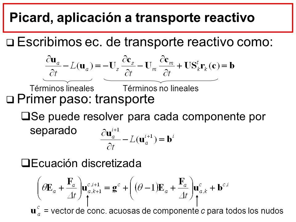 Picard, aplicación a transporte reactivo Escribimos ec. de transporte reactivo como: Primer paso: transporte Se puede resolver para cada componente po