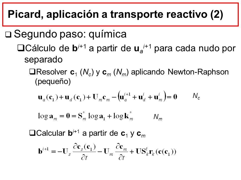 Picard, aplicación a transporte reactivo (2) Segundo paso: química Cálculo de b i+1 a partir de u a i+1 para cada nudo por separado Resolver c 1 (N c