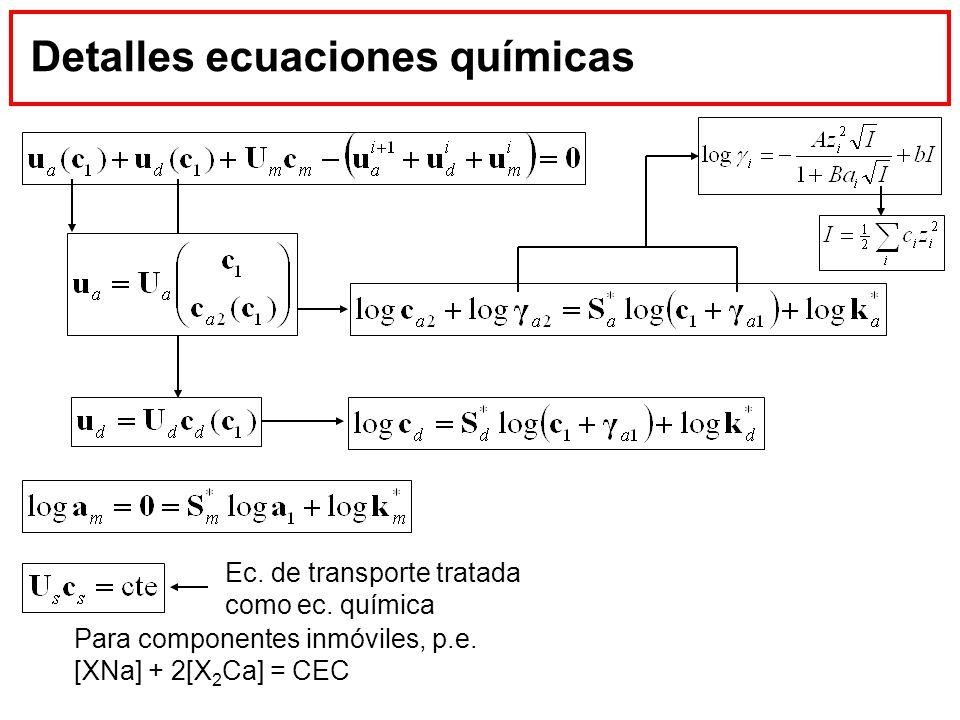 Detalles ecuaciones químicas Para componentes inmóviles, p.e. [XNa] + 2[X 2 Ca] = CEC Ec. de transporte tratada como ec. química