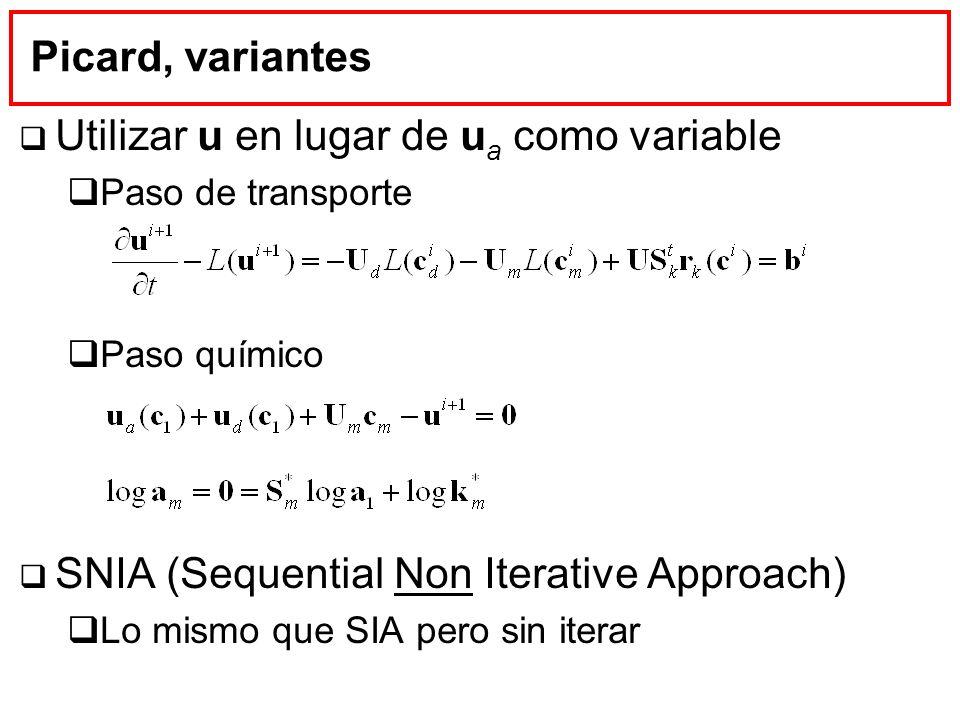 Picard, variantes Utilizar u en lugar de u a como variable Paso de transporte Paso químico SNIA (Sequential Non Iterative Approach) Lo mismo que SIA p