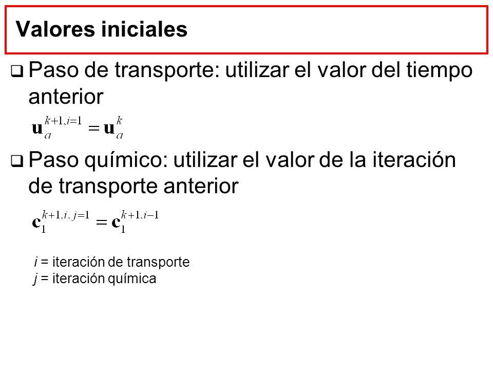 Valores iniciales Paso de transporte: utilizar el valor del tiempo anterior Paso químico: utilizar el valor de la iteración de transporte anterior i =