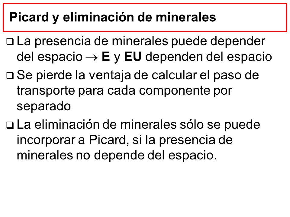 Picard y eliminación de minerales La presencia de minerales puede depender del espacio E y EU dependen del espacio Se pierde la ventaja de calcular el