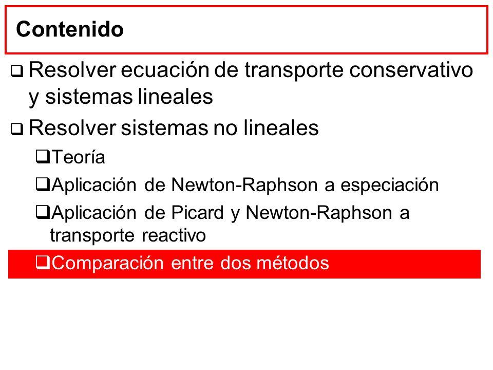 Contenido Resolver ecuación de transporte conservativo y sistemas lineales Resolver sistemas no lineales Teoría Aplicación de Newton-Raphson a especia