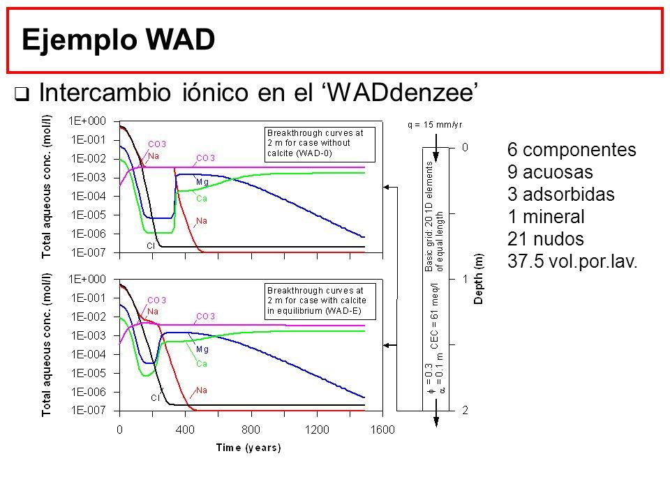 Ejemplo WAD Intercambio iónico en el WADdenzee 6 componentes 9 acuosas 3 adsorbidas 1 mineral 21 nudos 37.5 vol.por.lav.