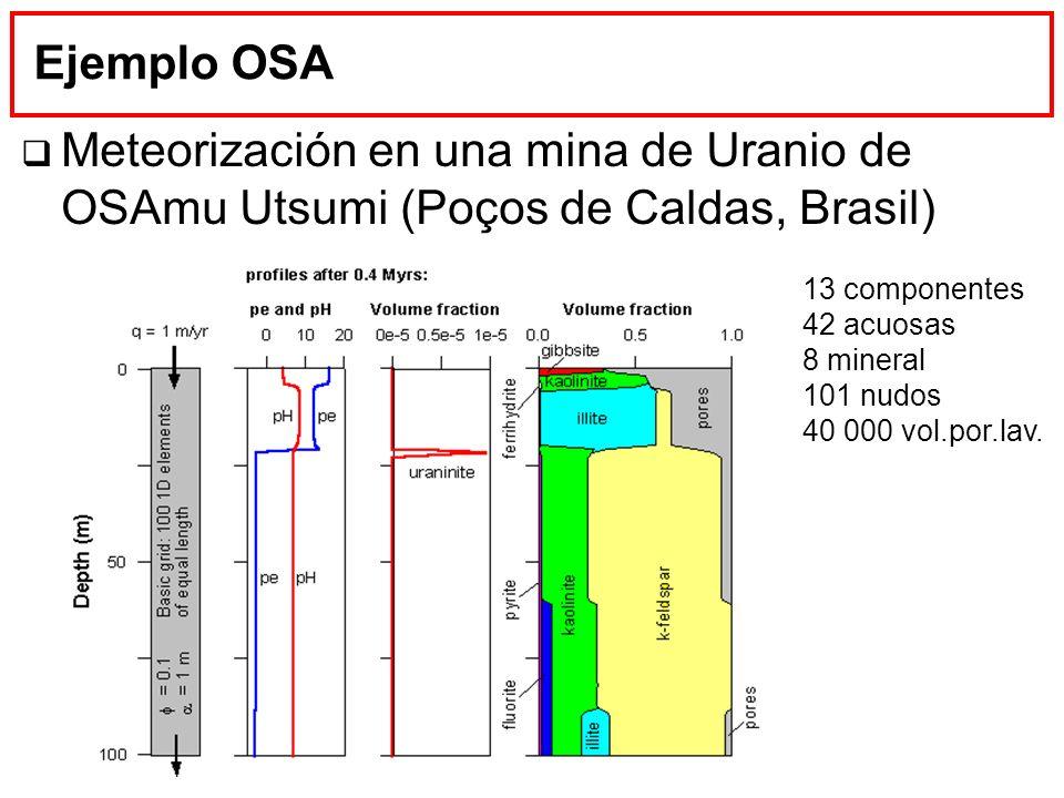 Ejemplo OSA Meteorización en una mina de Uranio de OSAmu Utsumi (Poços de Caldas, Brasil) 13 componentes 42 acuosas 8 mineral 101 nudos 40 000 vol.por