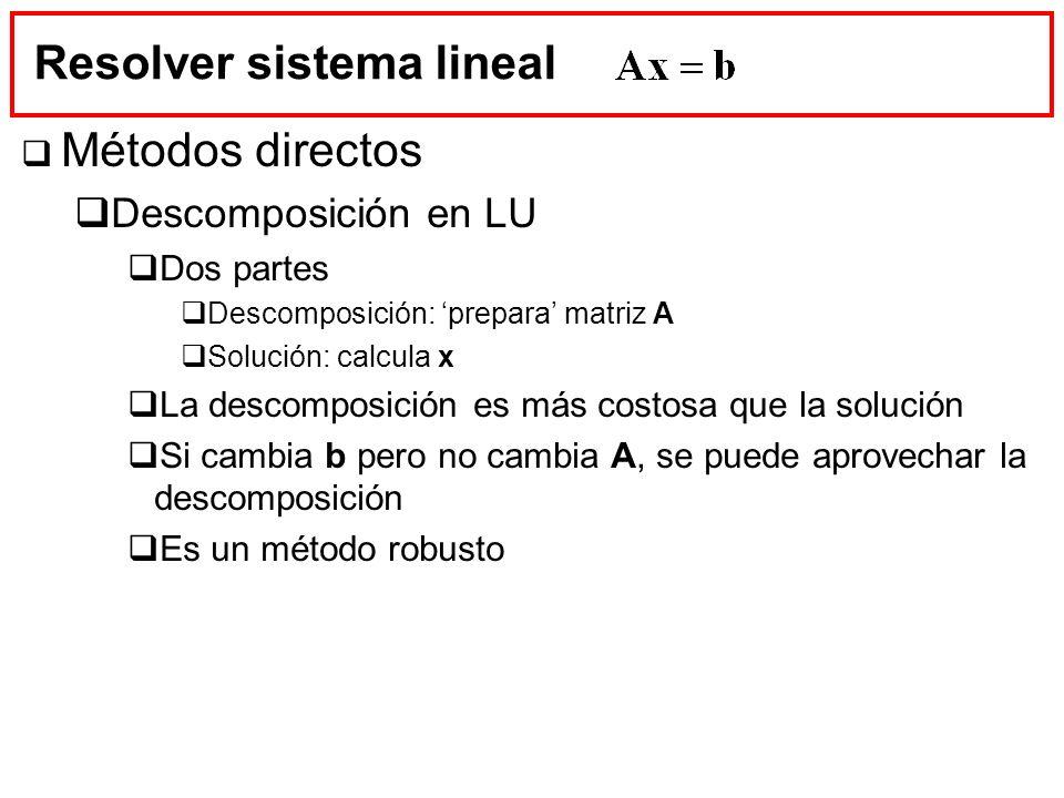 Resolver sistema lineal Métodos directos Descomposición en LU Dos partes Descomposición: prepara matriz A Solución: calcula x La descomposición es más