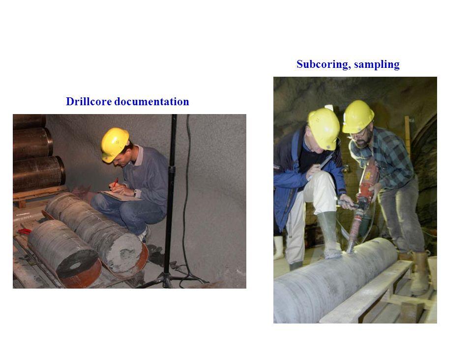 Drillcore documentation Subcoring, sampling
