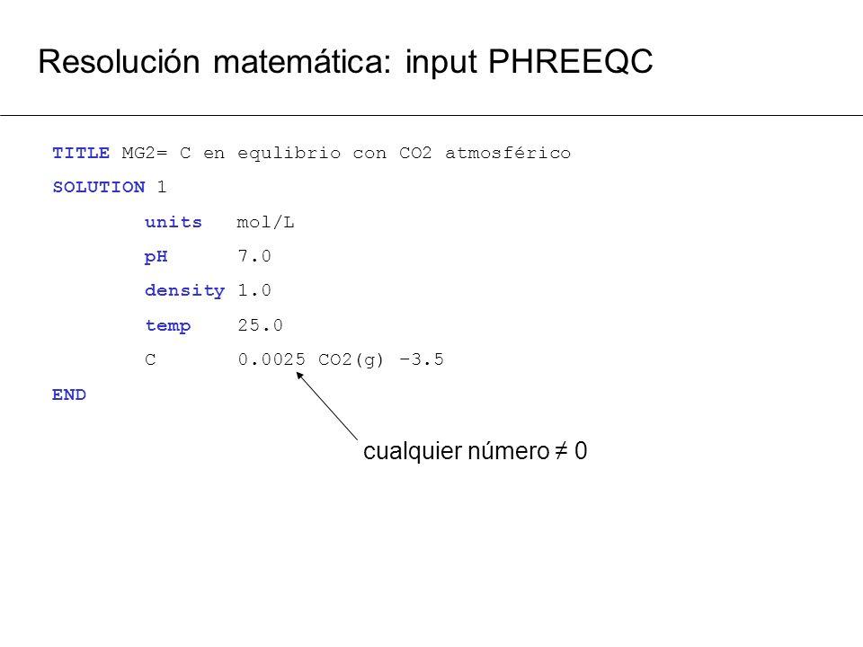 Resolución matemática: input PHREEQC TITLE MG2= C en equlibrio con CO2 atmosférico SOLUTION 1 units mol/L pH 7.0 density 1.0 temp 25.0 C 0.0025 CO2(g)