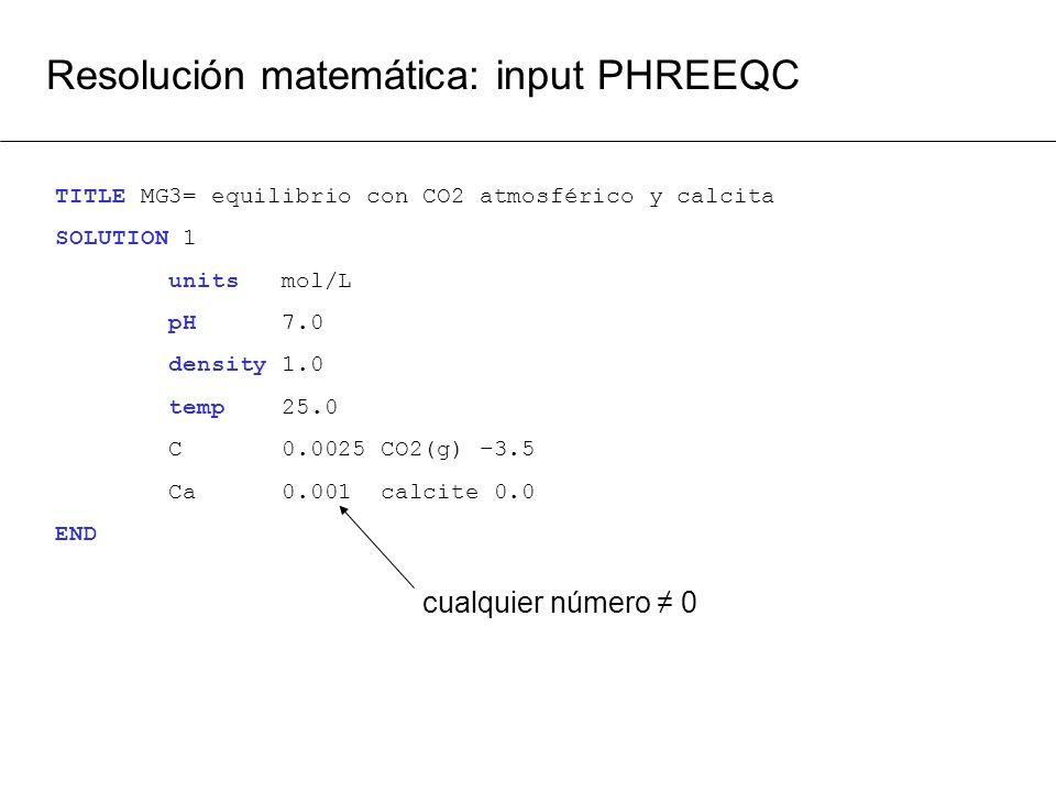Resolución matemática: input PHREEQC TITLE MG3= equilibrio con CO2 atmosférico y calcita SOLUTION 1 units mol/L pH 7.0 density 1.0 temp 25.0 C 0.0025