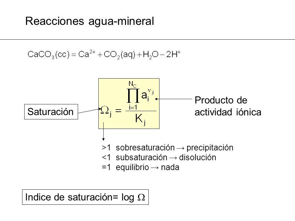 Reacciones agua-mineral Saturación Producto de actividad iónica >1 sobresaturación precipitación <1 subsaturación disolución =1 equilibrio nada Indice