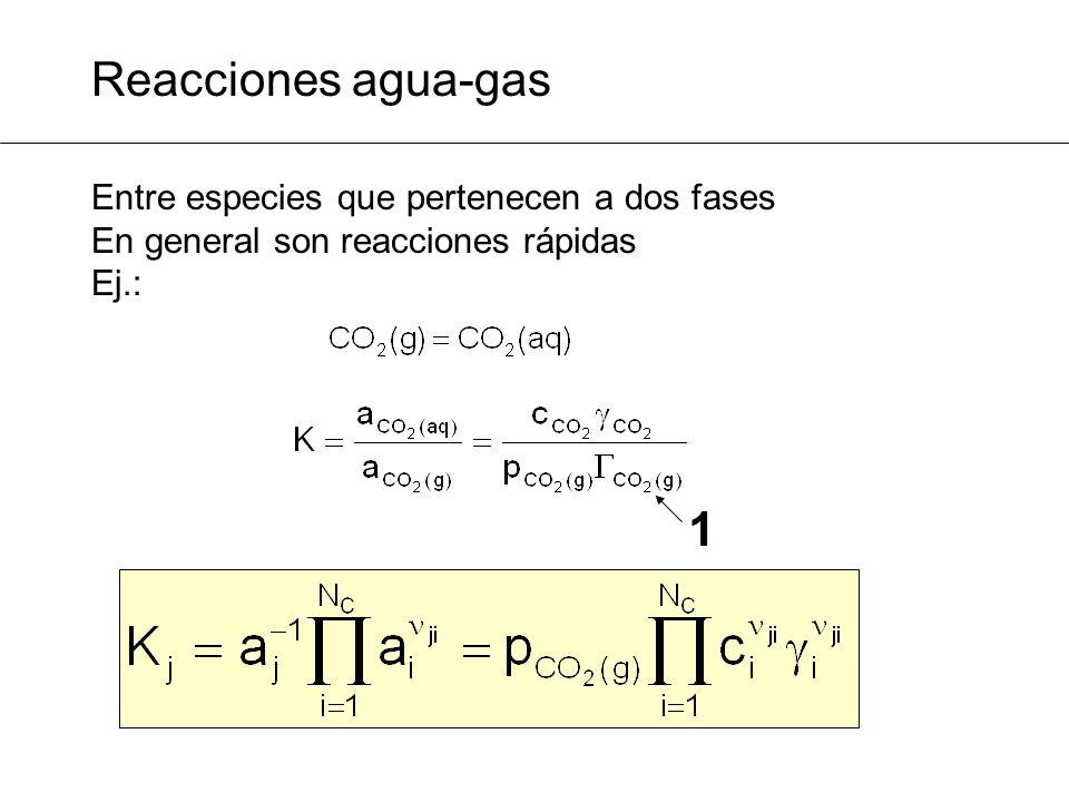 Reacciones agua-gas Entre especies que pertenecen a dos fases En general son reacciones rápidas Ej.: 1