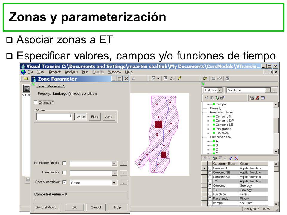 Zonas y parameterización Asociar zonas a ET Especificar valores, campos y/o funciones de tiempo