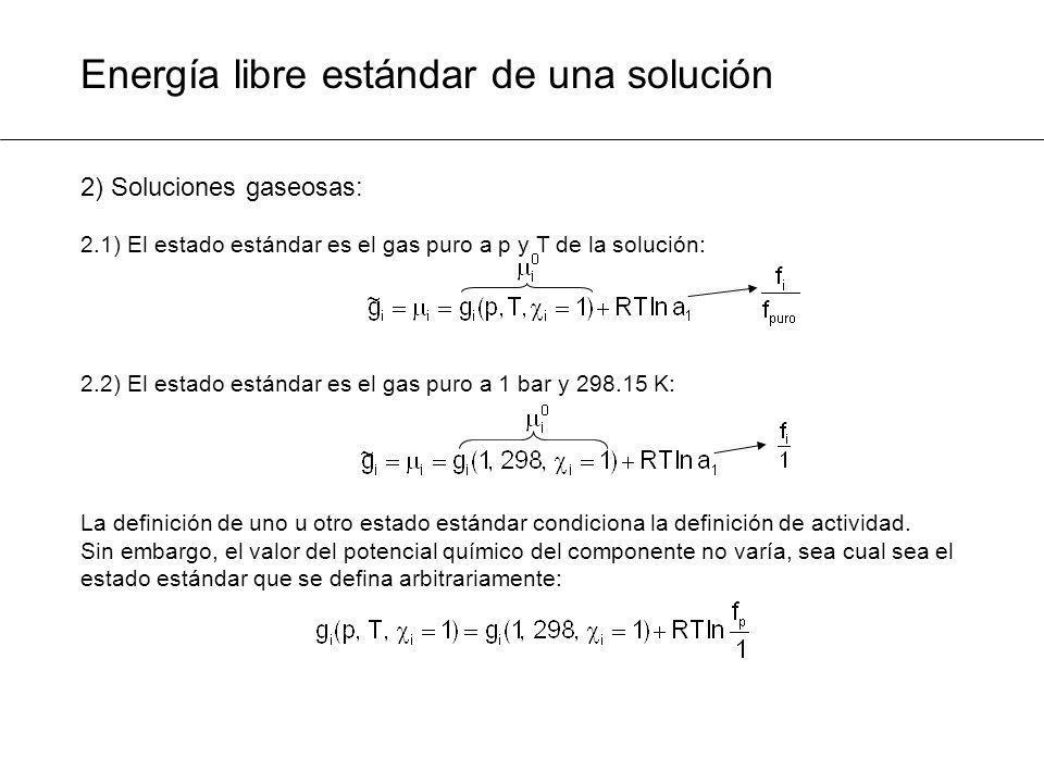 Energía libre estándar de una solución 2) Soluciones gaseosas: 2.1) El estado estándar es el gas puro a p y T de la solución: 2.2) El estado estándar
