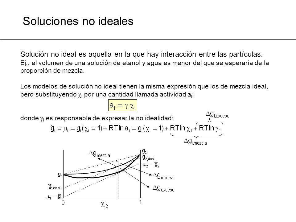 Soluciones no ideales Solución no ideal es aquella en la que hay interacción entre las partículas. Ej.: el volumen de una solución de etanol y agua es