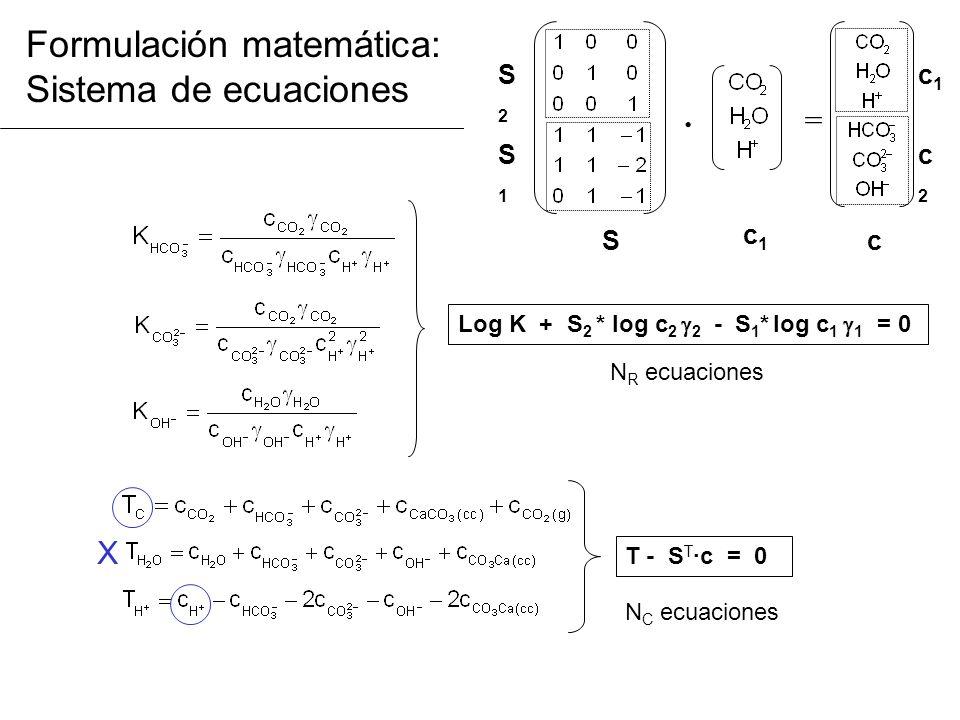 Formulación matemática: Sistema de ecuaciones Log K + S 2 * log c 2 2 - S 1 * log c 1 1 = 0 T - S T ·c = 0 N C ecuaciones N R ecuaciones · = c c1c1 S