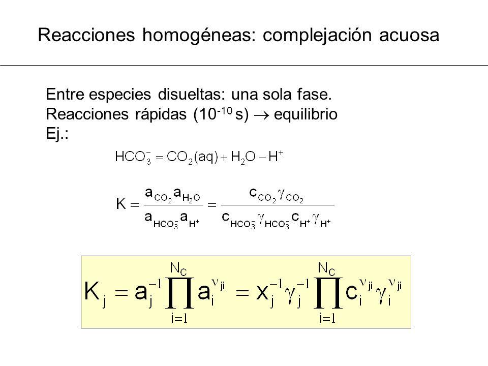 Reacciones homogéneas: complejación acuosa Entre especies disueltas: una sola fase. Reacciones rápidas (10 -10 s) equilibrio Ej.: