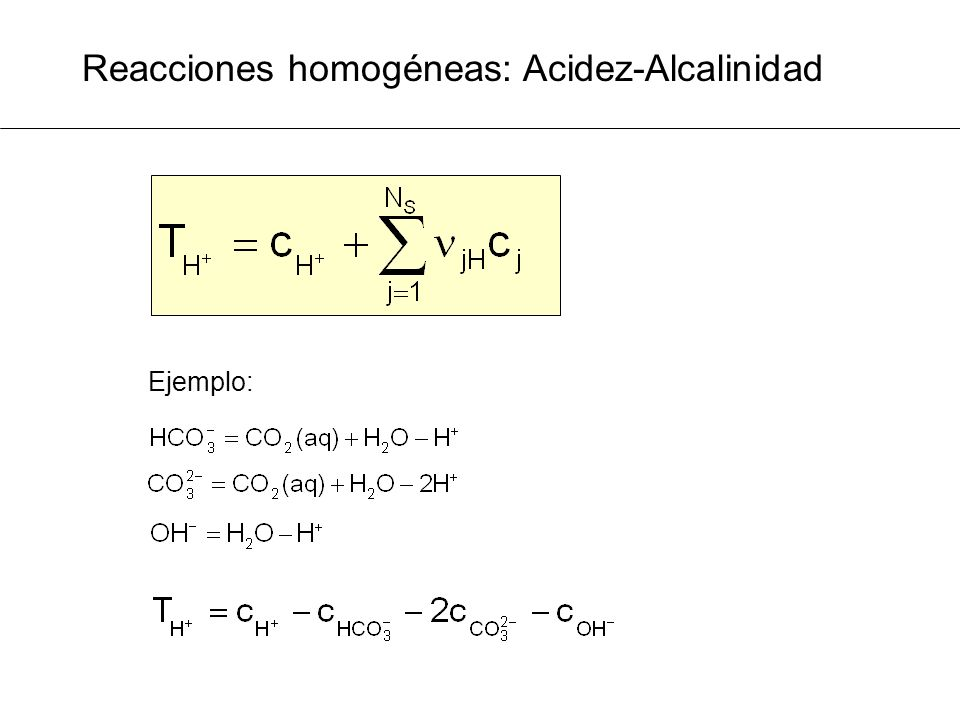 Reacciones homogéneas: Acidez-Alcalinidad Ejemplo: