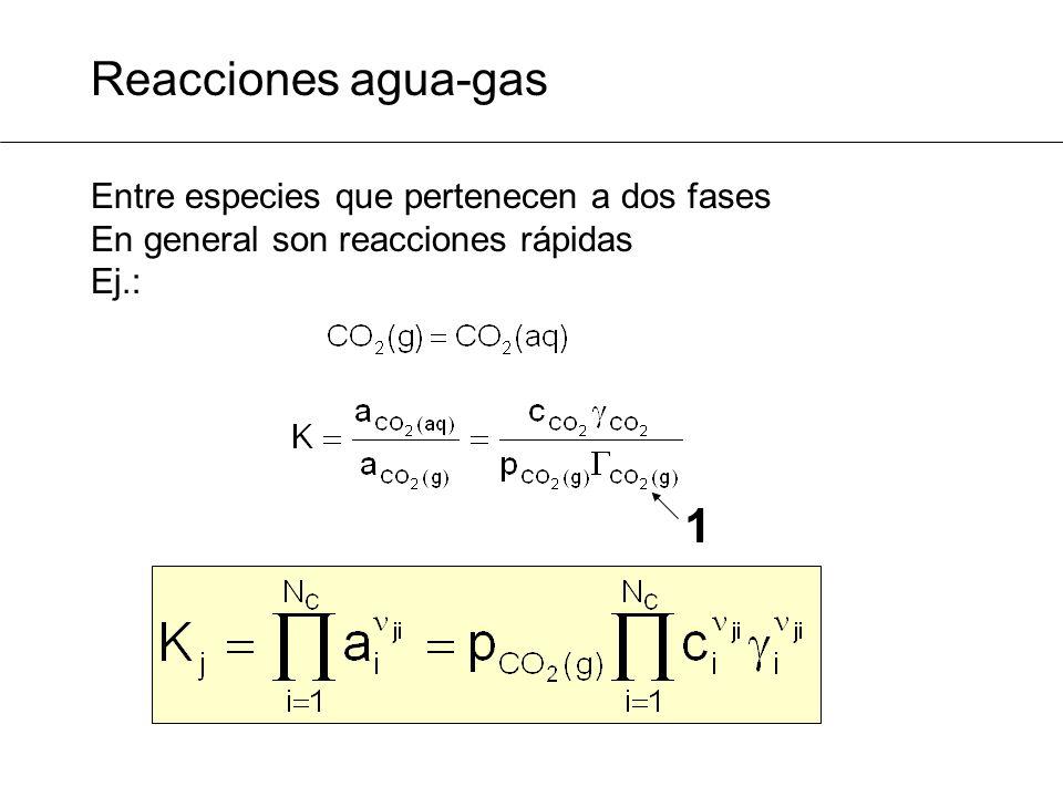 Formulación matemática: especies primarias PROBLEMA MG1: especiación del sistema carbónico 6 especies presentes (base de datos): H 2 O, H +, OH -, CO 2 (aq), HCO 3 -, CO 3 2- 3 reacciones entre ellas: 3 especies primarias o independientes: H 2 O, H +, CO 2 (aq)