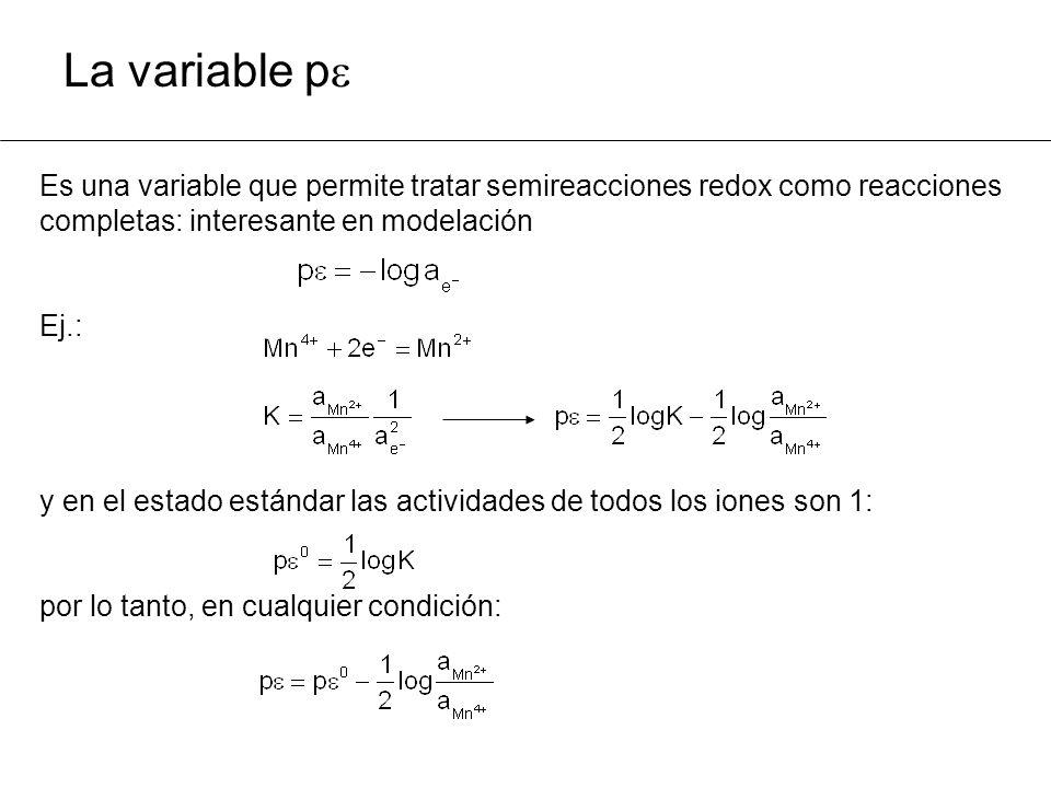 La variable p Es una variable que permite tratar semireacciones redox como reacciones completas: interesante en modelación Ej.: y en el estado estándar las actividades de todos los iones son 1: por lo tanto, en cualquier condición: