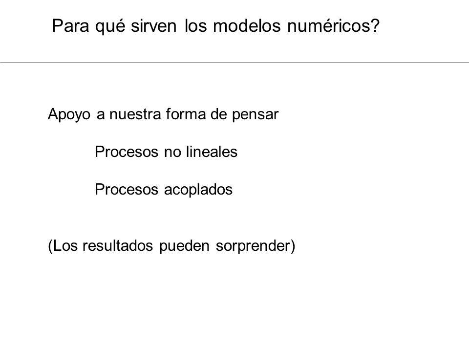 Para qué sirven los modelos numéricos? Apoyo a nuestra forma de pensar Procesos no lineales Procesos acoplados (Los resultados pueden sorprender)