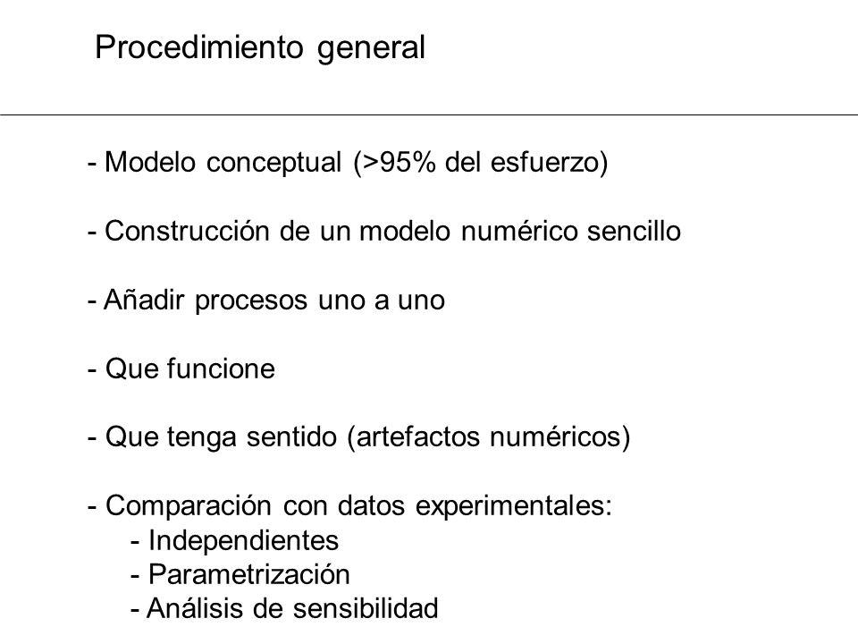 Procedimiento general - Modelo conceptual (>95% del esfuerzo) - Construcción de un modelo numérico sencillo - Añadir procesos uno a uno - Que funcione