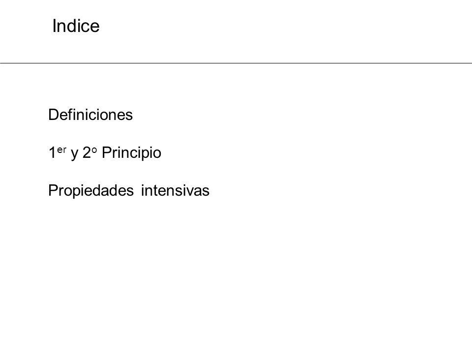 Indice Definiciones 1 er y 2 o Principio Propiedades intensivas