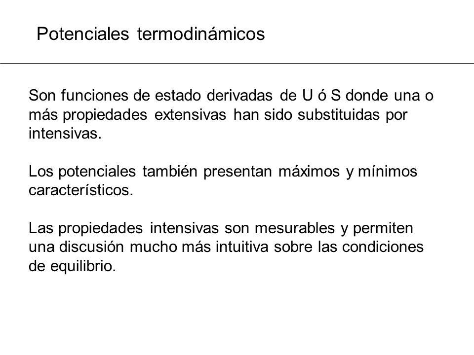Potenciales termodinámicos Son funciones de estado derivadas de U ó S donde una o más propiedades extensivas han sido substituidas por intensivas. Los