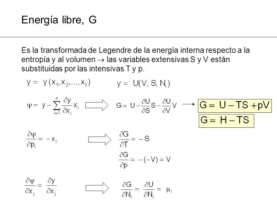 Energía libre, G Es la transformada de Legendre de la energía interna respecto a la entropía y al volumen las variables extensivas S y V están substit