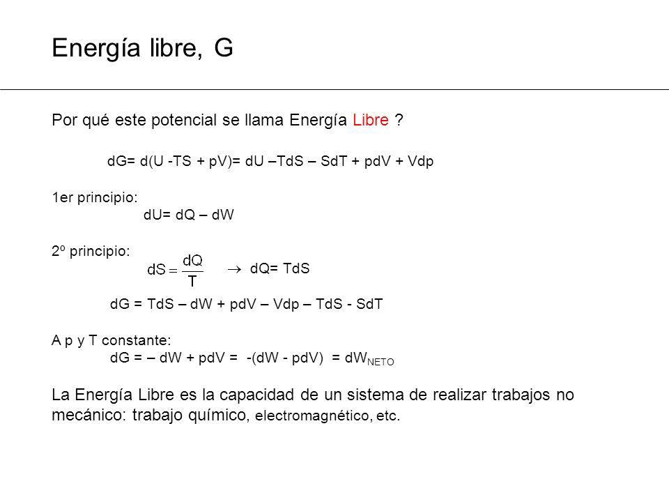 Energía libre, G Por qué este potencial se llama Energía Libre ? dG= d(U -TS + pV)= dU –TdS – SdT + pdV + Vdp 1er principio: dU= dQ – dW 2º principio:
