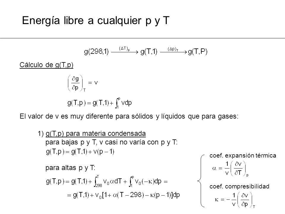 Energía libre a cualquier p y T Cálculo de g(T,p) El valor de v es muy diferente para sólidos y líquidos que para gases: 1) g(T,p) para materia conden