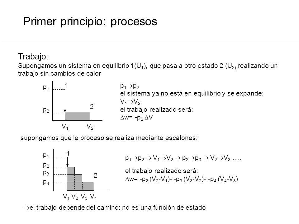 Primer principio: procesos p 2 =p 1 +dp El sistema se desplazará muy próximo al equilibrio: V 2 =V 1 +dV el trabajo realizado será: supongamos que le proceso se realiza mediante cambios infinitesimales: El proceso que tiene lugar en desplazamientos próximos al equilibrio se denomina reversible El trabajo de un proceso reversible es el máximo: Un proceso reversible es una idea abstracta que no existe en la naturaleza, pero simplifica mucho la forma de pensar La termodinámica que estudiaremos es la de procesos reversibles 1 V4V4 2 p2p2 p1p1 V1V1 p4p4 p3p3 V2V2 V3V3