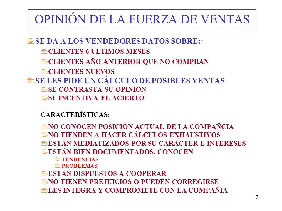 7 OPINIÓN DE LA FUERZA DE VENTAS 7SE DA A LOS VENDEDORES DATOS SOBRE:: 7CLIENTES 6 ÚLTIMOS MESES 7CLIENTES AÑO ANTERIOR QUE NO COMPRAN 7CLIENTES NUEVO