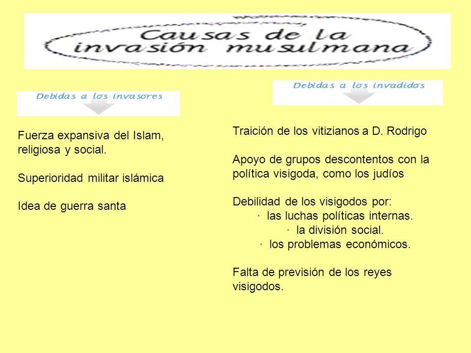 Fuerza expansiva del Islam, religiosa y social. Superioridad militar islámica Idea de guerra santa Traición de los vitizianos a D. Rodrigo Apoyo de gr