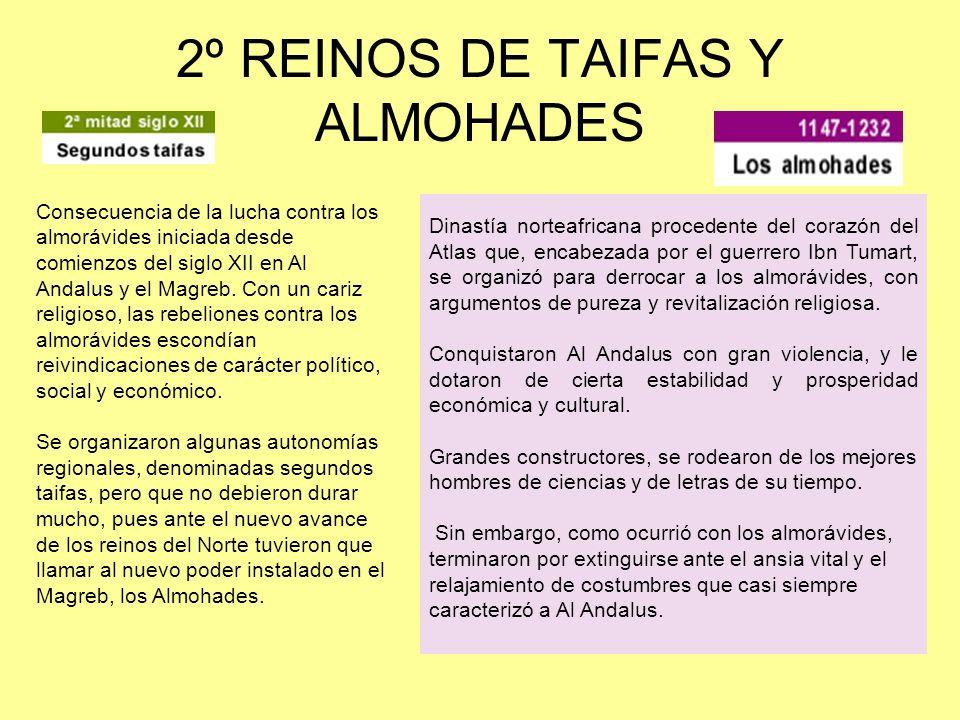 2º REINOS DE TAIFAS Y ALMOHADES Consecuencia de la lucha contra los almorávides iniciada desde comienzos del siglo XII en Al Andalus y el Magreb. Con