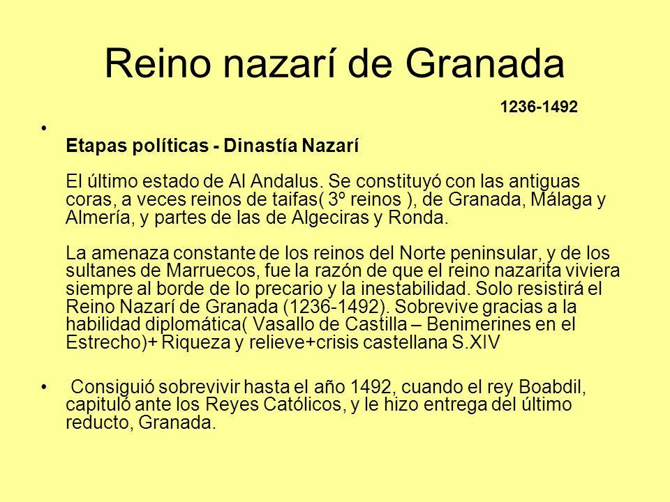 Reino nazarí de Granada Etapas políticas - Dinastía Nazarí El último estado de Al Andalus. Se constituyó con las antiguas coras, a veces reinos de tai