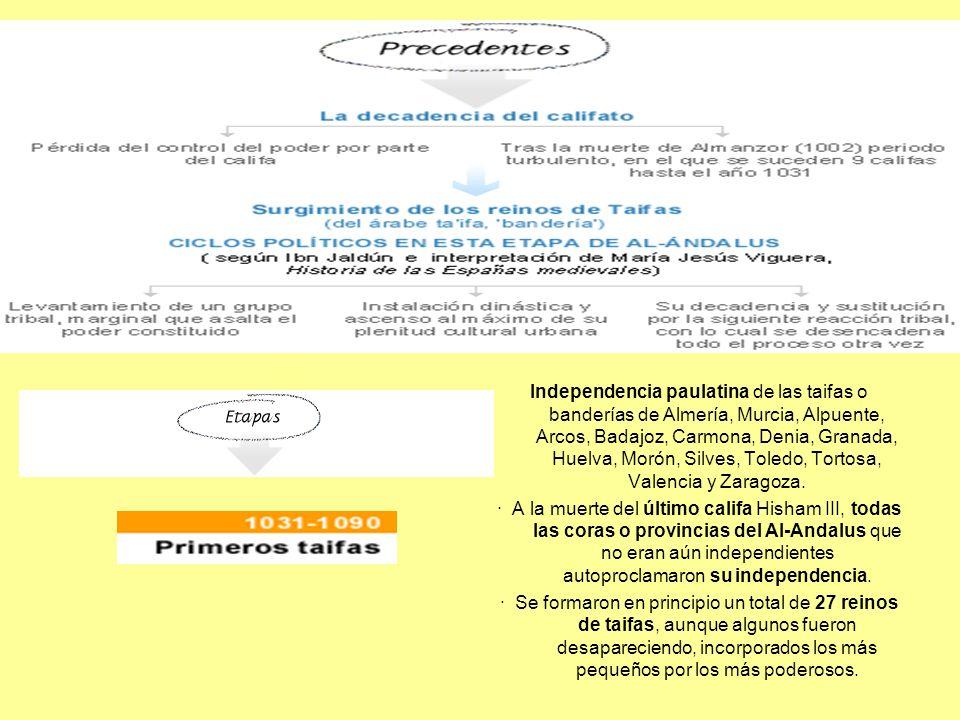Independencia paulatina de las taifas o banderías de Almería, Murcia, Alpuente, Arcos, Badajoz, Carmona, Denia, Granada, Huelva, Morón, Silves, Toledo