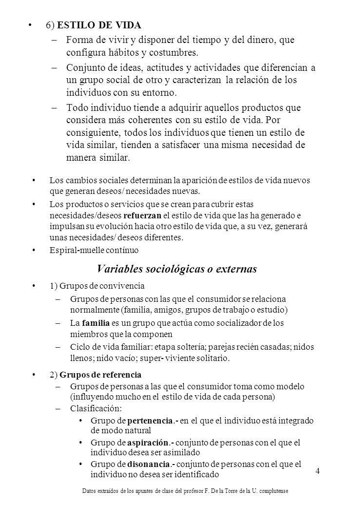 4 6) ESTILO DE VIDA –Forma de vivir y disponer del tiempo y del dinero, que configura hábitos y costumbres.