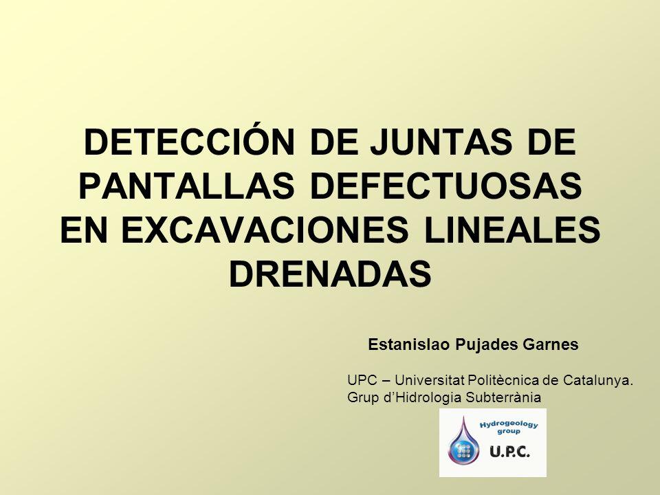 DETECCIÓN DE JUNTAS DE PANTALLAS DEFECTUOSAS EN EXCAVACIONES LINEALES DRENADAS Estanislao Pujades Garnes UPC – Universitat Politècnica de Catalunya. G