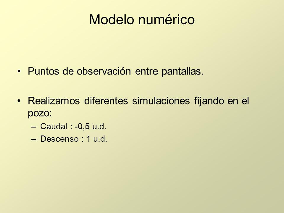 Modelo numérico Puntos de observación entre pantallas. Realizamos diferentes simulaciones fijando en el pozo: –Caudal : -0,5 u.d. –Descenso : 1 u.d.