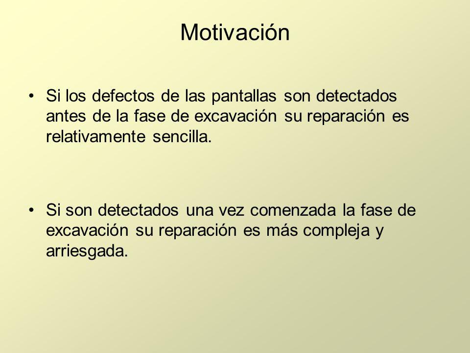 Motivación Si los defectos de las pantallas son detectados antes de la fase de excavación su reparación es relativamente sencilla. Si son detectados u